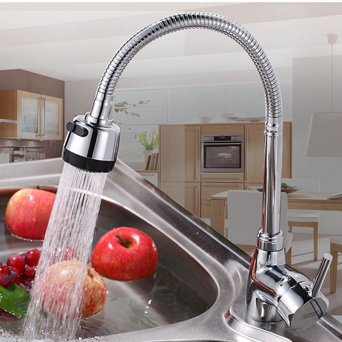 Kitchen Bathroom Spout Faucet 360 Rotate Pull out Sprayer Hot Cold Water Mixer Tap
