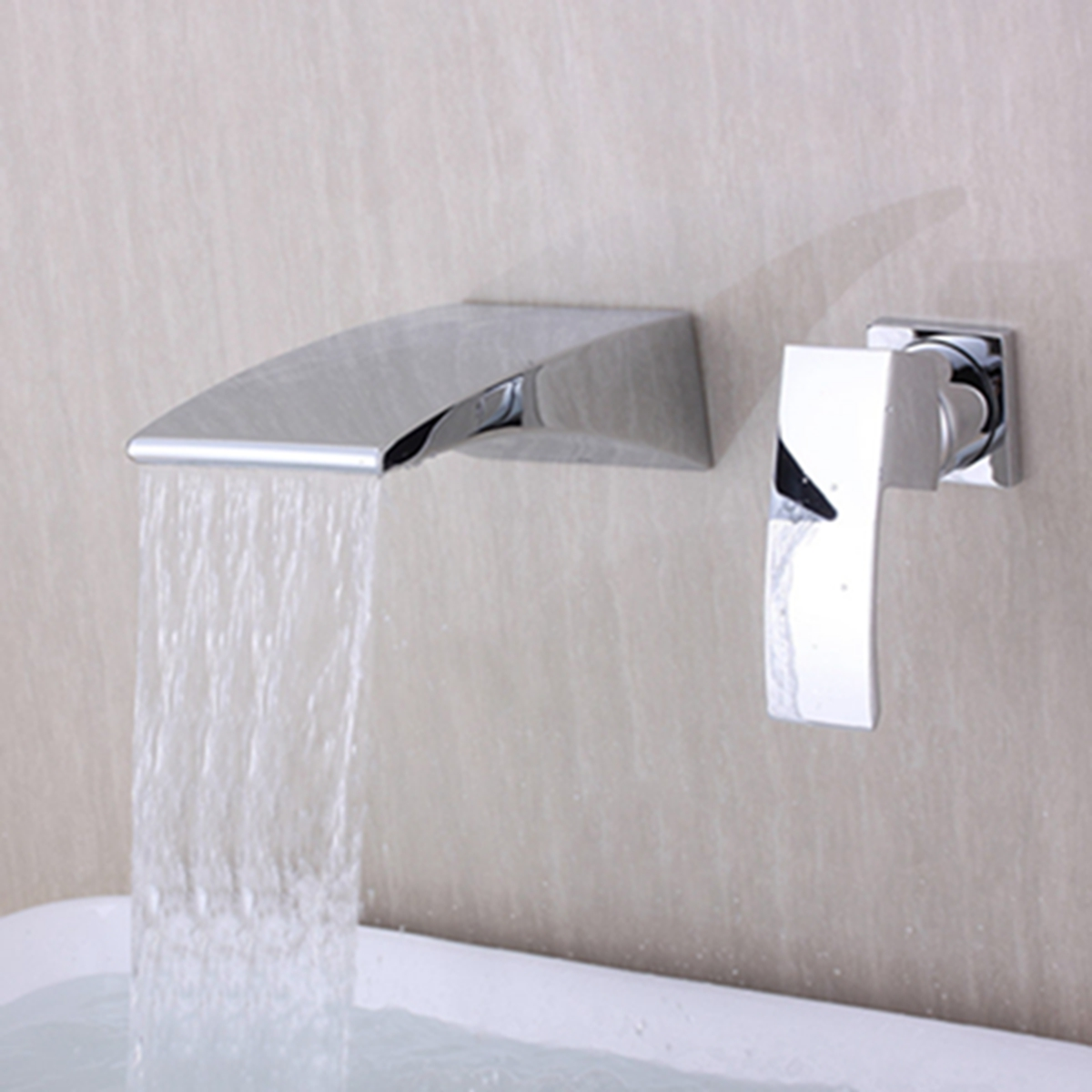 Waterfall Curve Spout Bathroom Faucet Chrome Single Handle Wall Mount Mixer Tap