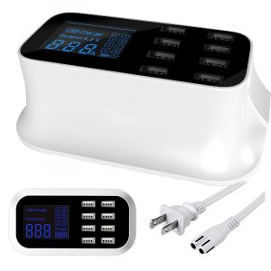 8-Port USB Fast Charging Station AC Power Adapter LCD Display USB Charger Travel Office Home for Laptop Tablets Phone