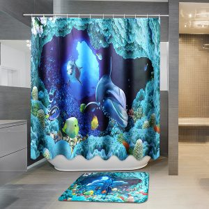 180x180cm Blue Dolphin Deep Sea Waterproof Bathroom Shower Curtain with 12 Hooks