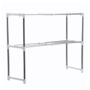 495-850mm Storage Shelf Double-layer Multi-function Telescopic Framework Kitchen Storage Rack