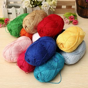 12Color Finger Ring Knitting Yarn Smooth Woolen Cotton Bamboo Yarn Knitted Hat