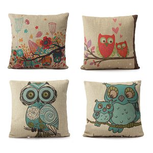 Vintage Linen Cotton Owl Cushion Cover Sofa Throw Pillow Case
