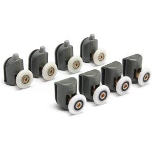 8Pcs Upper And Bottom Shower Door Rollers Runners Set Replacement Parts Glass Wheels Pulleys Guides