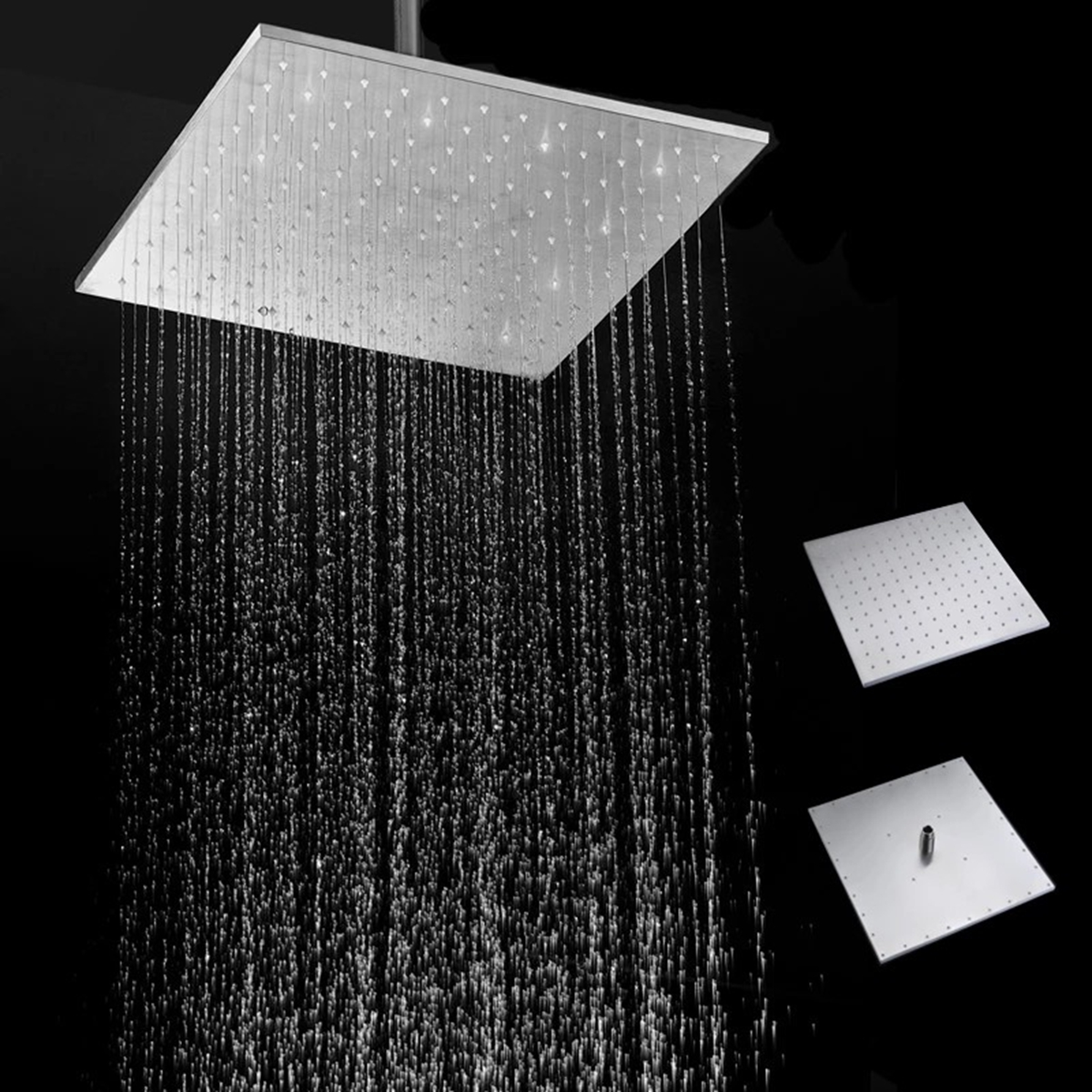 16'' 250MM 304 Stainless Steel Rainfall Showerhead Square Ultra Thin Slim Rain Shower Head