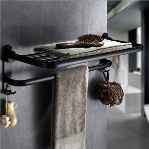 Folding Towel Holder Double Bath Shelves Towel Rail Bathroom Fixed Accessories