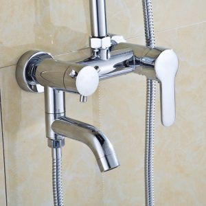 Modern Chrome Bathroom Filler Shower Bath Sink Hand Held Wall Mounted Mixer Tap Faucet