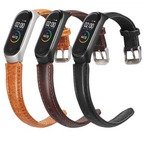 Solid Crazy Horse Pattern Leather Watch Band Watch Strap Replacement for Xiaomi Miband 4