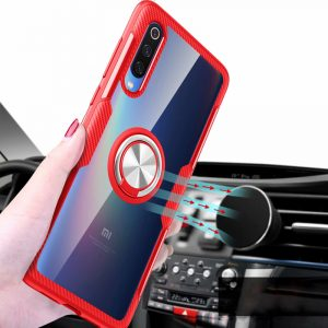 Bakeey Transparent Ring Holder Magnetic Car PC & Carbon Fiber Protective Case For Xiaomi Mi 9 / Xiaomi Mi9 Transparent Edition