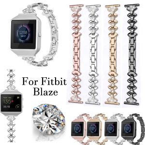 Bakeey Replacement Stainless steel Watch Band Small Fan-shaped Crystal with Watch Frame for Fitbit Blaze Smart Watch