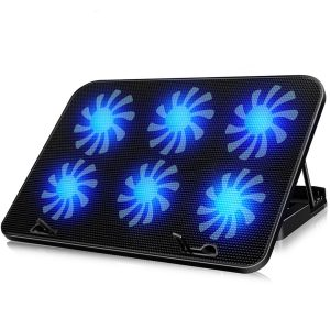 """6 Fans Cooling Stand Pad 2 USB Port Cooler Fits 10-17"""" Laptop Stand Notebook Radiator Computer Base Fan Bracket Pad"""""""
