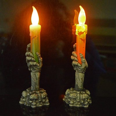 Halloween Skull Skeletal Hand Stand Warm White LED Candle Light Home Decoration Party Lamp