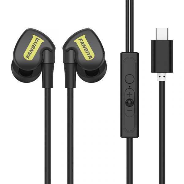 Fanbiya Type-C In-ear Wired Control Earphone HiFi Headphones for Xiaomi Huawei OnePlus