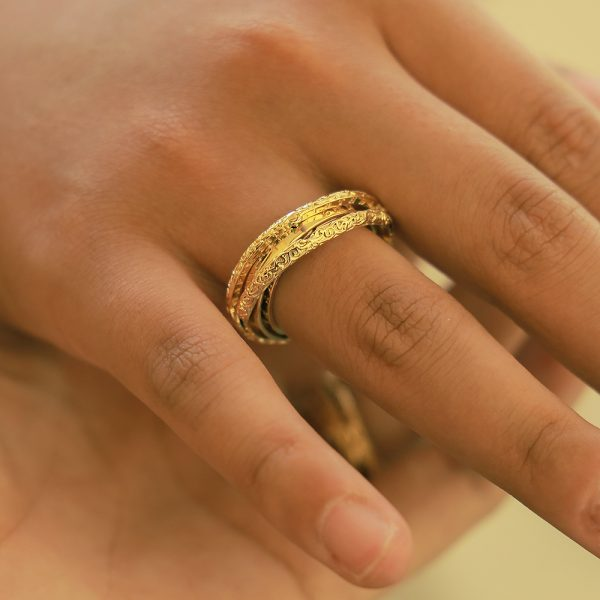 Vintage Stereoscopic Astronomical Ball Copper Ring Constellation Digital Retro Pattern Finger Ring