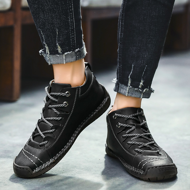 Men Hand Stitching Vintage Microfiber Leather Lace Up Comfy Soft Ankle