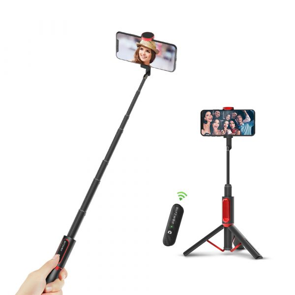 BlitzWolf® BW-BS10 All In One Portable bluetooth Selfie Stick Hidden Phone Clamp with Retractable Tripod