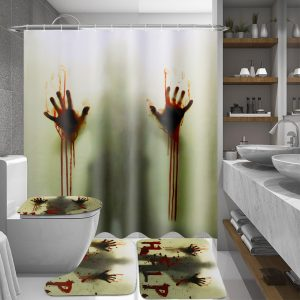 180x180cm Bloody Hands Bathroom Waterproof Shower Curtain Non-slip Mats Bath Carpets Toilet Cover Floor Mat Halloween Gift