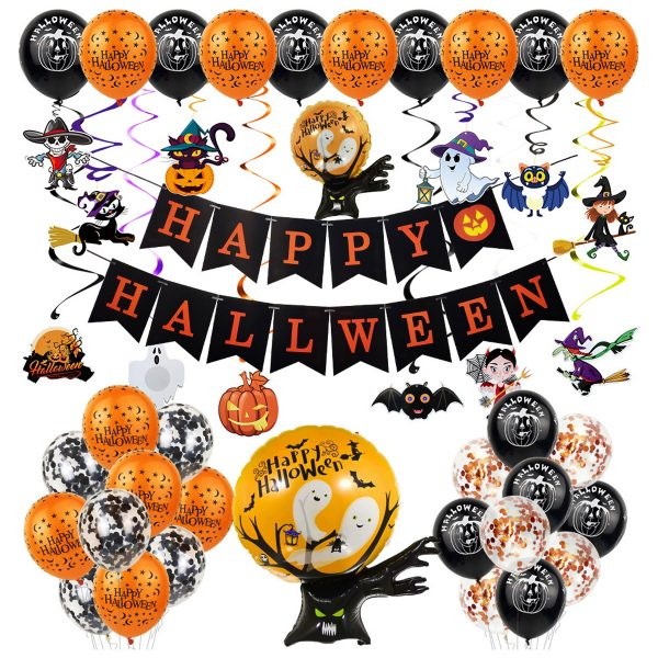 Halloween Balloon Set Letter Flag Banner Ballnoon Decoration
