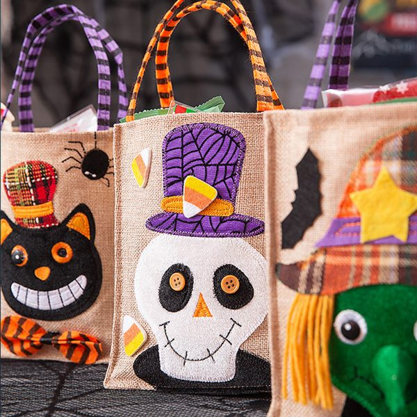 Halloween Party Handle Bag Halloween Square Linen Tote Bag Candy Bag