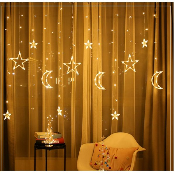 3.5M LED Moon Star Fairy String Light Wedding Holiday Lamp Home Party Decoration EU Plug AC220V