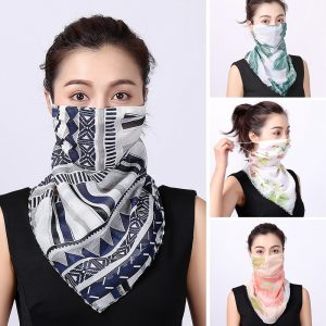 2020 Silk Scarf Women Bandana Face Maskswashable and Reusable Lady Mascarillas Sun Protection Scarves Female Neck Wraps Shawl
