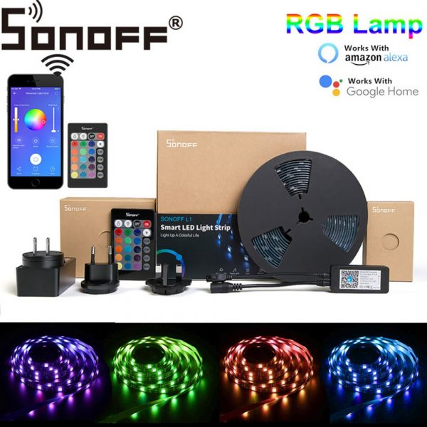 SONOFF L1 Dimmable IP65 2M 5M Smart WiFi RGB LED Strip Light Kit Work With Amazon Alexa Google Home