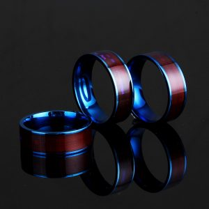 Blue NTAG213 NFC Tag Ring Multifunctional Intelligent Ring Titanium Steel Smart Wear Finger Digital Rings for Men Women