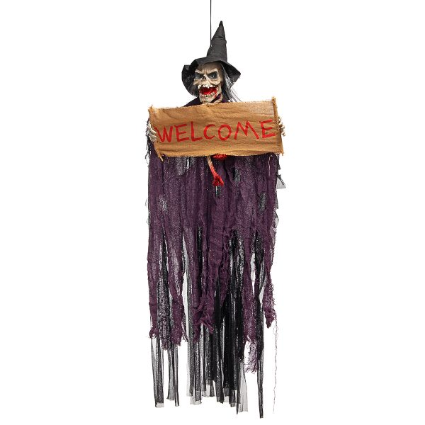 Halloween Tools Scary Welcome Sign Hanging Skeleton Voice Lights Eyes for Halloween Decorations