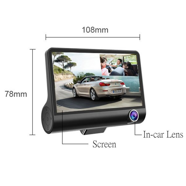 4 Inch FHD 1080P Car DVR Camera 3 Lens Recorder Support Night Vision